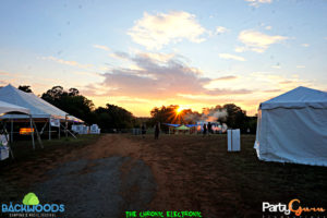 sunset at Backwoods Music Festival