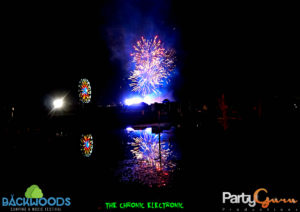 Fireworks across the lake at Backwoods Music Festival