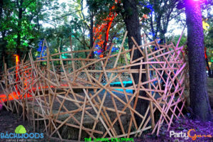 Wooden chilling area Backwoods Music Festival