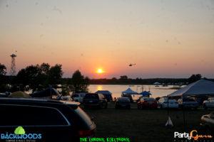 sunset at Backwoods Music Festival